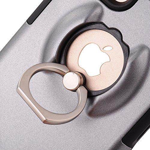 Coque iPhone 6 Plus 6s Plus,Case Ultra Mince Protection-Bague Ring Stand Holder-360 degrés sur la béquille ,Hybride Anti-scratch Housse Etui, - MMY Housse Etui Coque Pour iPhone 6 Plus,6s Plus-OR ROSE GRIS