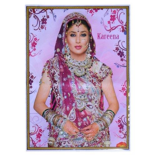 Poster Kareena Kapoor violett bunter Sari 75 x 50 cm Bollywood Star Schauspielerin Hochglanzpapier Bild (Sari Schönheit)