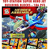 Toy-Station - Special Type Blocks (Toy-Station Super Hero Building Blocks Mini American Captain Figure With Jet Fighter Brick Toys Gift - (186PC))