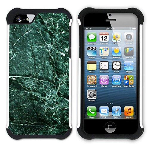 Graphic4You Grün Marmor Muster Stone Design Hart + Weiche Kratzfeste Hülle Case Schale Tasche Schutzhülle für Apple iPhone SE / 5 / 5S Design #11