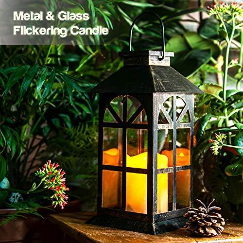 Solar Laterne für außen - mit hell flackernder LED Kerze - Tisch- und Hängelampe - in- und outdoor - extra Metall Laterne im Antik-Stil - dunkles Bronze - Glasfenster - wetterfest - 14x14x28cm