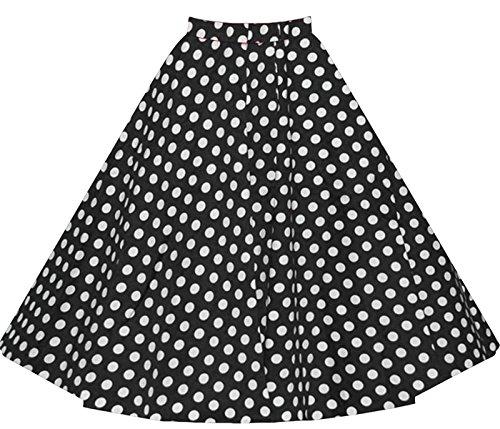 Rolansica Damen Retro Faltenrock Hohe Taille Rock Knielang Stoffdruck A-Linie Punktmuster Black&White Dots XL