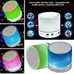 Mini Portable Wireless Bluetooth Speakers FM with LED Flashing Lights, Strong Bass Portable Audio Player, Support TF Card 1) Support: Bluetooth, TF card, USB, FM Radio, Line in 2) It can support music formats: MP3, WMA,WAV, PE,FLAC 3) Material: ABS P...