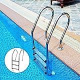 haodene Schwimmbad Leiter Poolleiter Mit 3 Stufen Edelstahl Badeleiter Hochbeckenleiter Rutschhemmenden Für Schwimmbad, 50.2cm