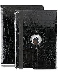 iPad Air 2 Estuche de Cuero para Negocios,elecfan ® SmartCase Sueño para iPad Air 2 / 360 Grados de Cuero Caso del Protector de Pantalla Soporte de la Cubierta (iPad Air 2, Negro)