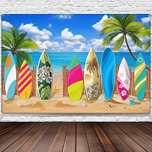 Surfbrett Hintergrund Banner Hawaii Party Hintergrund Banner für Strand Hochzeiten Party Dekorationen, 72,8 x 43,3 Zoll