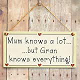 Mum knows a lot but Gran knows everything! - Mother's Day Gift Love Heart Frame Sign