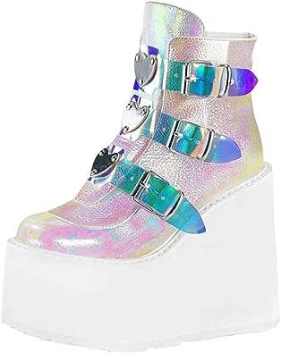 Stivali Donna Moda Scarpe con Zeppa Multicolore con Cerniera