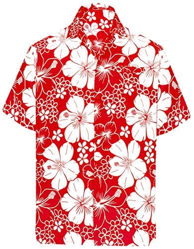 Bruder Schwester Kostüm Und - LA LEELA | Funky Hawaiihemd | Herren | Kurzarm | Front-Tasche | Hawaii-Print | Strand Hibiskus Blumen Gedruckt Rot_W301 XL - Brustumfang (in cms) : 121-132