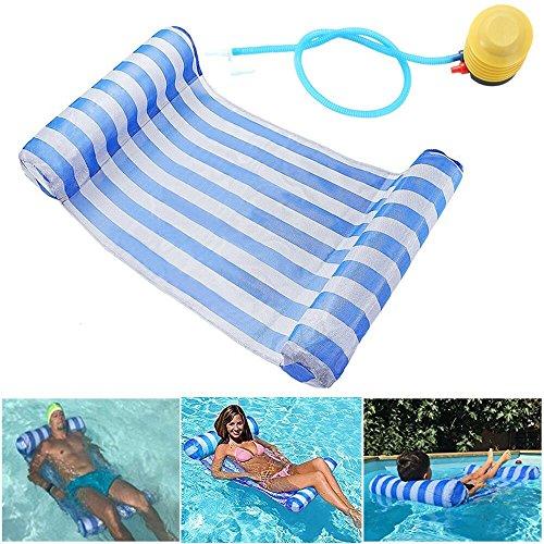 GEYUEYA Home Wasser Hängematte Lounge Stuhl Luftmatratze Schwimmende Wasser Bett Matte Swim Aufblasbare Kopf für Erwachsene und Kinder blau 120kg -