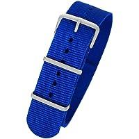 Pacific Time First 10039 - Cinturino di ricambio per orologio, in tessuto, fibbia ad ardiglione sportivo, colore: blu…
