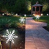 2 Pack Luci da Giardino Esterne LED Luci Fiocco di Neve Lampadina Decorazione Impermeabile per Giardini Patio Sentieri Decorato Halloween Ringraziamento Festa di Natale