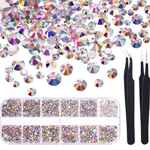 TecUnite 1728 Stück Nagel Kristalle AB Nagel Kunst Strass Runde Perlen Flatback Glas Charms Edelsteine und 2 Stück Pinzette mit Storage Organizer Box, SS3 6 10 12 16 20, 288 Stück Jeder Größe (Edelstein-pinzette)