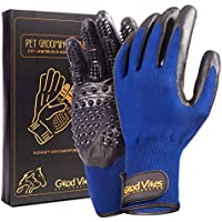 Pet Grooming Glove for Dogs Cats Horses Rabbits   2 in 1: Efficient Deshedding Hair Brush for Short to Medium Fur and Gentle Massage Tool   Grooming Kit Comes in Pair (for Left and Right Hand)