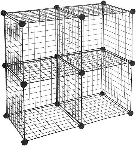 Amazonbasics - scaffalatura in filo, quattro cubi - nero