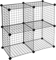 AmazonBasics Metallic 4 Cube Wire Storage Shelves - Black