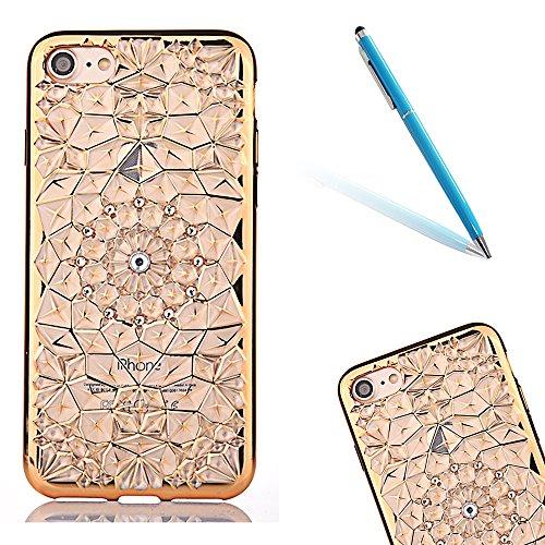 iPhone 8 Hülle, iPhone 7 Plating Gold TPU Bumper Case Soft Silikon Gel Schutzhülle mit Glitzer Bling Diamant & Kippständer Ring, Kristall Muster Stoßdämpfend Gel Schale Etui für Apple iPhone 7/8 + 1 x Weiß A