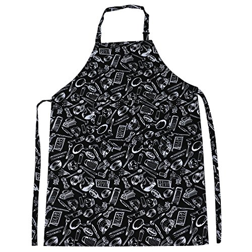 trixes-grembiule-da-chef-nero-regolabile-con-disegni-fantasia-a-tutta-lunghezza