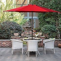 Grand patio Sombrilla Terraza Patio Jardín Piscina Ø 270 cm Impermeable Protección Solar Parasol de Aluminio con Manivela Ventilación Superior, Color Rojo