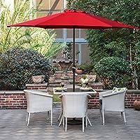 Grand Patio Ø 270 cm parasol d'extérieur en aluminium avec manivelle, parapluie de patio, rouge