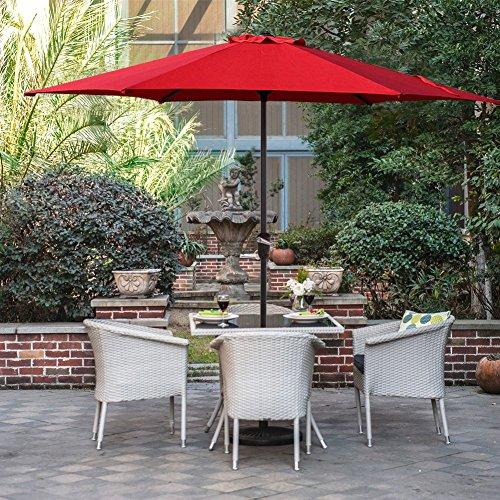 Grand patio Gartenschirm Kurbelschirm Sonnenschutz UV-Schutz Sonnenschirm Ø 270CM, rund, Rot (Wasserdichte Outdoor Patio Kissen)