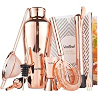 VonShef Copper Cocktail Shaker Set Parisian 9 piece in Gift Box with Recipe Guide & Accessories