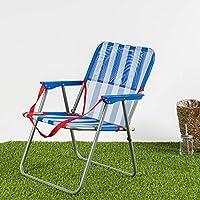 Habita Home Silla DE Playa Plegable DE Acero 40x56x70 cm Color Rayas
