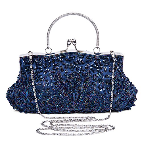 Lifewish Frauen Abendtasche Perlen Sequin Design Metallrahmen Kissing Lock Satin Interieur Abend Clutch ( Blau)