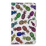 Funluna Samsung Galaxy Tab 4 7.0 Hülle, Stoßfest PU Leder Tasche mit Ständer Funktion Dokumentschlitze Folio Schutzhülle für Samsung Galaxy Tab 4 7,0 SM-T230/T235, Ananas