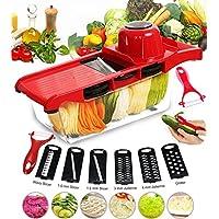 Cortador de verduras Mandolina Frutas BYETOO 6+1 Cortador de verduras manual de patatas rallador de zanahoria rebanador de queso con 6 hojas de acero inoxidable intercambiables