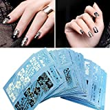 Zibuyu 48 Sheets Water Transfer Sticker Black White Lace Nail Art Decals Manicure