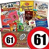 Geschenk zum 61. Geburtstag | Ostprodukte Schokolade | mit Zetti Edel Bitter, Viba Schicht Nougat Stange und mehr | GRATIS DDR Kochbuch | Schoko Geschenk Set