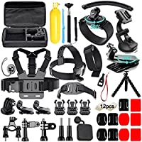 Soft Digits Accessories for GoPro Hero 2018 GoPro 6 GoPro Hero 5 Hero 4 Hero 3/2/1, Action Camera Mounts for Xiaomi Yi Lightdow VicTsing WiMiUS Apeman A80/A70 AKASO with Black Case