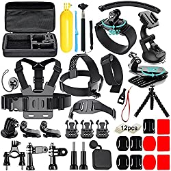 Accessories For Gopro, Soft Digits Sport Action Camera Bundle For Gopro Hero 2018 Gopro 6 Gopro 5 Hero 4 Hero 321, For Most Of Sports Camera 50-in-1 Gopro Hero Accessory Kit With Case (Black)