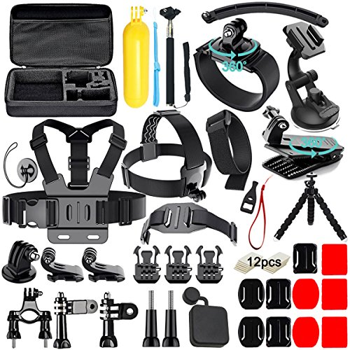 Galleria fotografica Soft Digits 50 in 1 Kit di Accessori per GoPro Hero 5 4 3+ 3 2 1 SJCAM SJ4000 5000 Xiaomi Yi APEMAN DBPOWER WiMiUS Campark Lightdow e Sony Action Camera - 360 Gradi Rotazione Wrist Strap