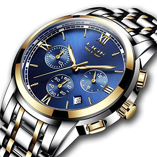 Herren uhren,LIGE Herren Edelstahl Wasserdicht Sport Analog Quarzuhr Chronograph Datum Kalender Mode Lässig Luxus Kleid Armbanduhr Gold Blau Herren-luxus-uhren Gold