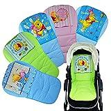 Universal Kinderwagen Sitzauflage, Buggy Auflage für alle gängigen Kinderwägen und Buggys (Winnie Pooh-Grün)
