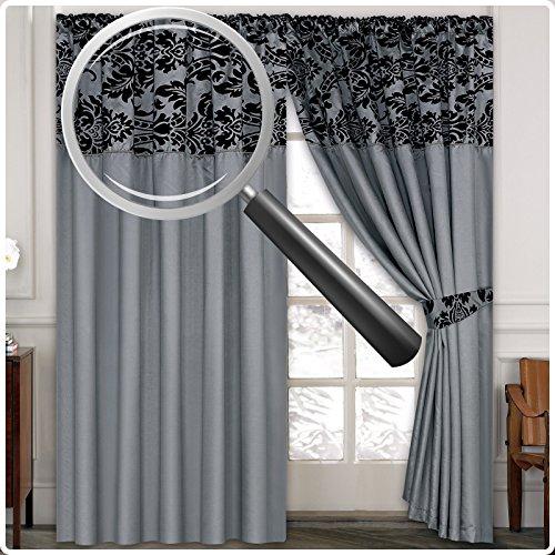 Half Flock With Plain Design Ready Made Pencil Pleat Curtains – Silver Grey Black Lisa/Kelly (90×90, Lisa Grey Black) by Lisa/Kelly
