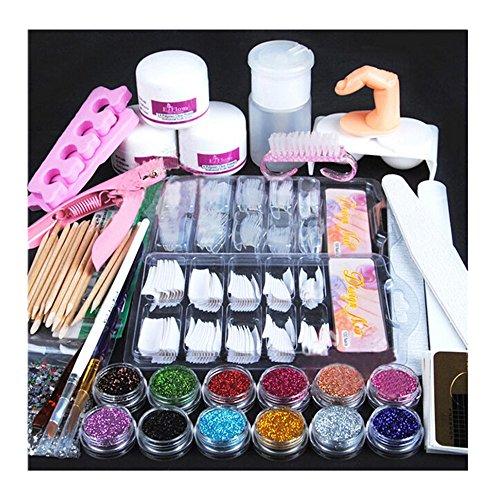 Byste acrilico nail art suggerimenti polvere luccichio spazzolino per le unghie falso dito pompa nail art utensili pieno kit professionale set