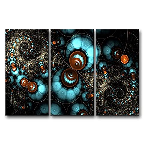 3Tableau mural d'écran Art Fractal Circles photos des Impressions sur toile abstraite le Décor à l'huile pour Home moderne Décoration Imprimé pour filles Chambre à coucher