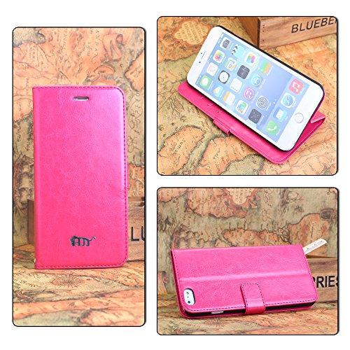 Pdncase iPhone 6 plus Leder Tasche Case Hülle Schaf-Haut Wallet Style Schutzhülle für iPhone 6 plus Farbe Weiß Rose