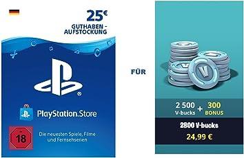 PSN Guthaben für Fortnite - 2.500 V-Bucks + 300 extra V-Bucks - 2.800 V-Bucks DLC   PS4 Download Code - deutsches Konto