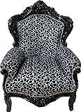 Barock Casa Padrino Sessel 'King' Silber Schwarz Muster/Schwarz - Antik Stil