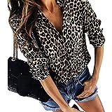 LAEMILIA Damen Blusen Leopard Print Basic Hemdkragen Business Fashion Damenmode Hemd Langarm Lässig Button Casual Beiläufig Oberteil