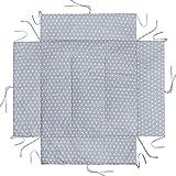 LULANDO Laufgittereinlage Laufstalleinlage und Schutzeinlage mit Seitenpolsterung (75x100 cm oder 100x100 cm). Kuschelig weich und warm gepolstert. Farbe: White Stars / Grey, Größe:100 x 100 cm