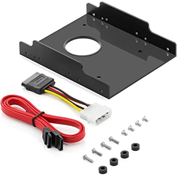 """Einbaurahmen für 2,5"""" Festplatten/SSD's auf 3,5"""" Adapter Wechselrahmen Mounting Frame - Hartplastik - Halterung Schienen inkl. Schrauben SATA Kabel und Stromadapter"""