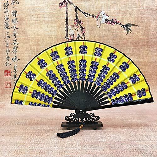 XIAOHAIZI Handfächer,Sommer Bambus Fan Abakus Diagramm Gelb Retro Chinesischen Stil Männer Madame Geschenk Faltfächer Für Zuhause - Kostüm Diagramm