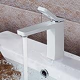 Homelody Weiss Lack Einhebelmischer Wasserhahn Bad Armatur Waschtischarmatur Waschbeckenarmatur Badarmatur für Badezimmer