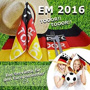 FUSSBALL EM 2016, Serviette, Zellstoff, 40 x 40cm, 50 Stück (149007)