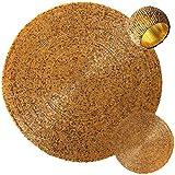 Arsvita Platzset Rund aus Perlen Ø36 inkl. Glasuntersetzer und Serviettenring (Gold Antik)